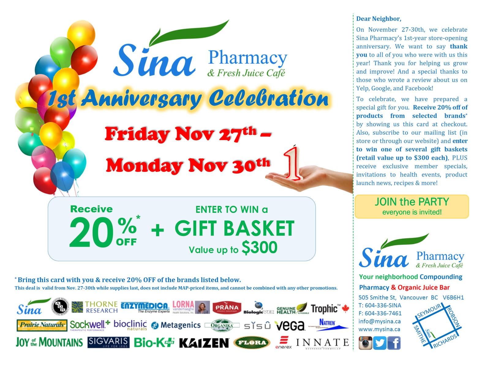 Sina Pharmacy Anniversary Post Card